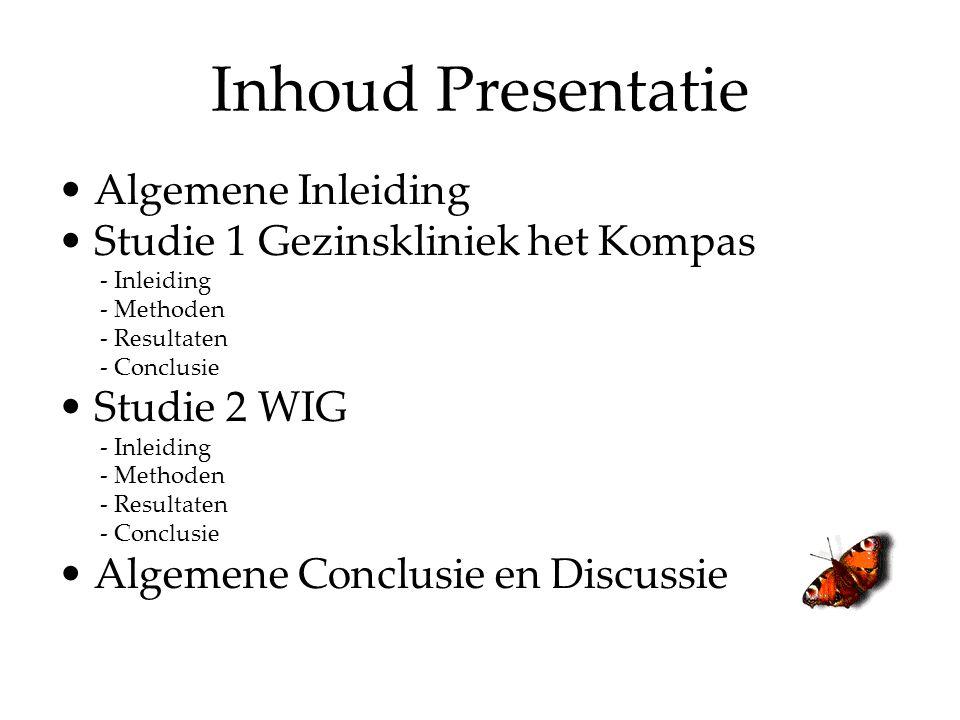 Inhoud Presentatie Algemene Inleiding Studie 1 Gezinskliniek het Kompas - Inleiding - Methoden - Resultaten - Conclusie Studie 2 WIG - Inleiding - Methoden - Resultaten - Conclusie Algemene Conclusie en Discussie