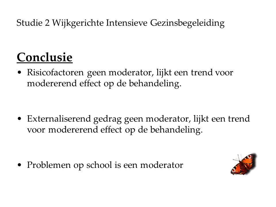 Studie 2 Wijkgerichte Intensieve Gezinsbegeleiding Conclusie Risicofactoren geen moderator, lijkt een trend voor modererend effect op de behandeling.