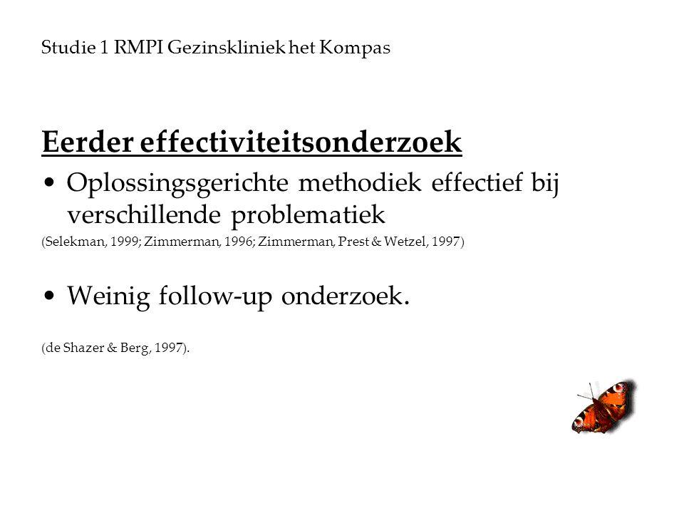 Studie 1 RMPI Gezinskliniek het Kompas Eerder effectiviteitsonderzoek Oplossingsgerichte methodiek effectief bij verschillende problematiek (Selekman, 1999; Zimmerman, 1996; Zimmerman, Prest & Wetzel, 1997) Weinig follow-up onderzoek.