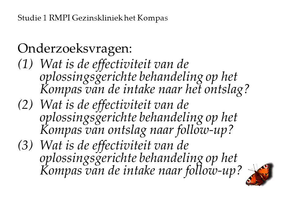 Studie 1 RMPI Gezinskliniek het Kompas Onderzoeksvragen: (1)Wat is de effectiviteit van de oplossingsgerichte behandeling op het Kompas van de intake naar het ontslag.