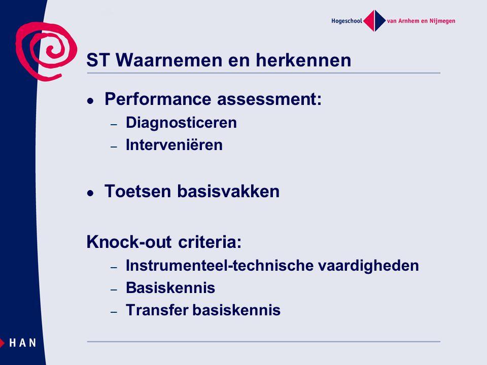 ST Waarnemen en herkennen Performance assessment: – Diagnosticeren – Interveniëren Toetsen basisvakken Knock-out criteria: – Instrumenteel-technische