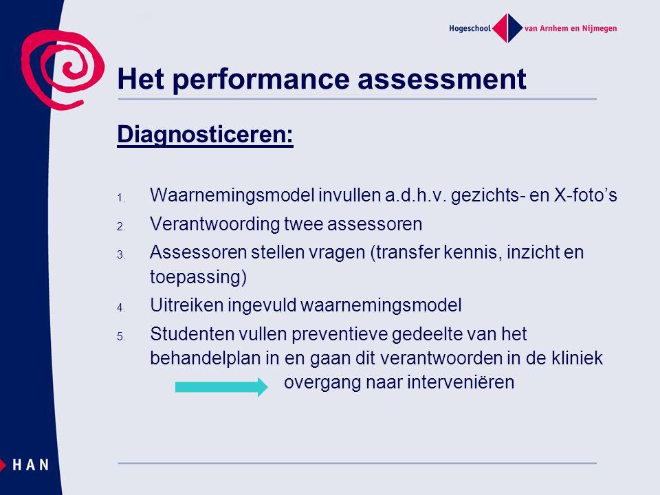 Het performance assessment Diagnosticeren: 1. Waarnemingsmodel invullen a.d.h.v. gezichts- en X-foto's 2. Verantwoording twee assessoren 3. Assessoren