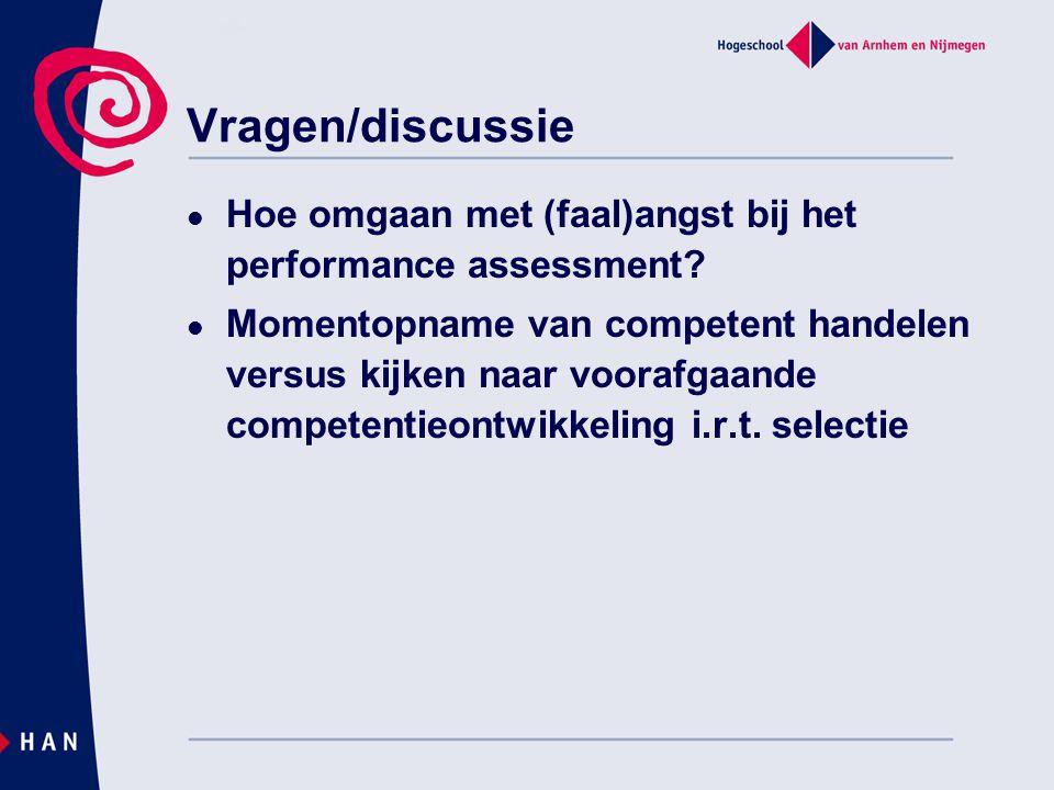 Vragen/discussie Hoe omgaan met (faal)angst bij het performance assessment? Momentopname van competent handelen versus kijken naar voorafgaande compet