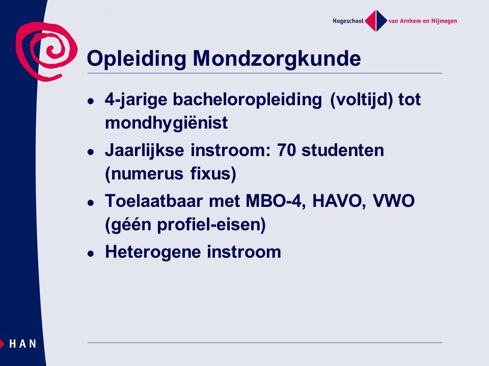 Opleiding Mondzorgkunde 4-jarige bacheloropleiding (voltijd) tot mondhygiënist Jaarlijkse instroom: 70 studenten (numerus fixus) Toelaatbaar met MBO-4