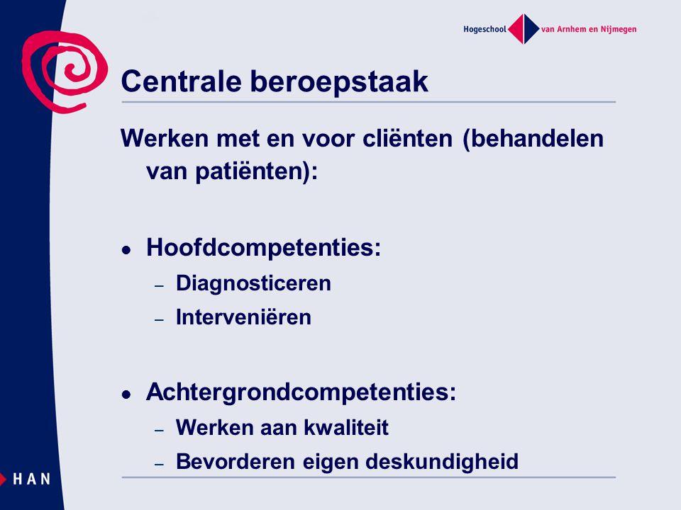 Centrale beroepstaak Werken met en voor cliënten (behandelen van patiënten): Hoofdcompetenties: – Diagnosticeren – Interveniëren Achtergrondcompetenti