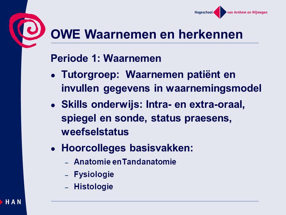 OWE Waarnemen en herkennen Periode 1: Waarnemen Tutorgroep: Waarnemen patiënt en invullen gegevens in waarnemingsmodel Skills onderwijs: Intra- en ext