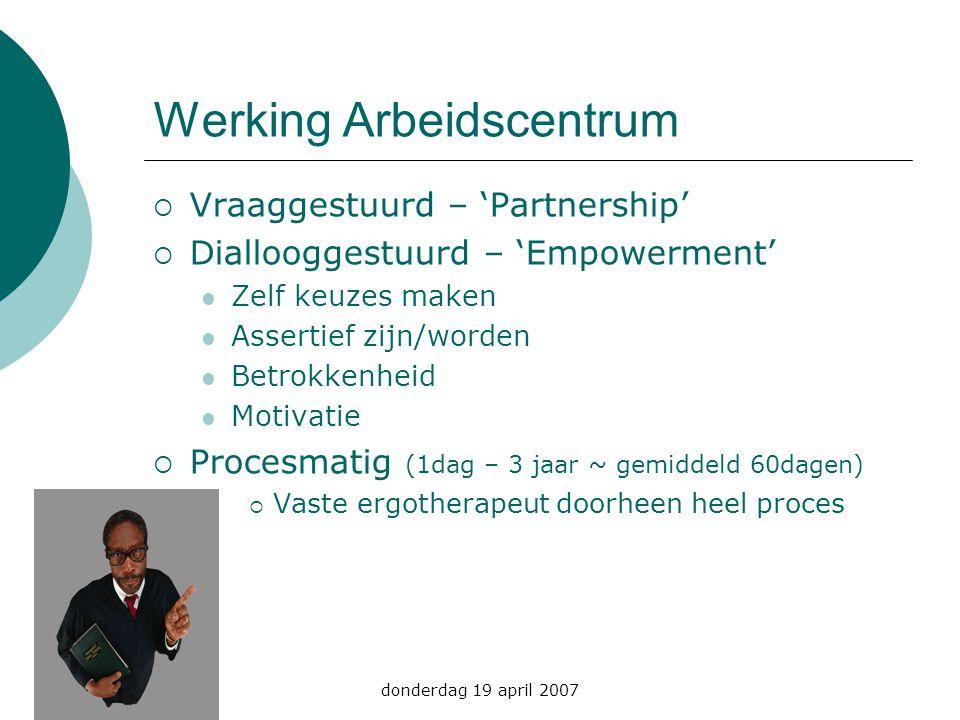 donderdag 19 april 2007 Werking Arbeidscentrum  Vraaggestuurd – 'Partnership'  Diallooggestuurd – 'Empowerment' Zelf keuzes maken Assertief zijn/wor