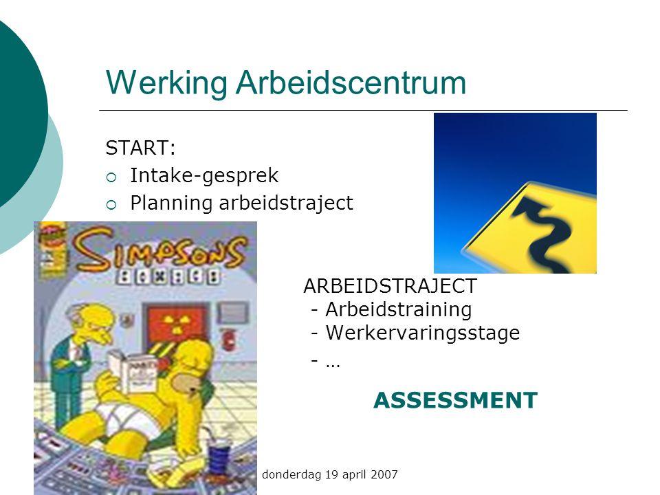 donderdag 19 april 2007 Werking Arbeidscentrum START:  Intake-gesprek  Planning arbeidstraject ARBEIDSTRAJECT - Arbeidstraining - Werkervaringsstage - … ASSESSMENT