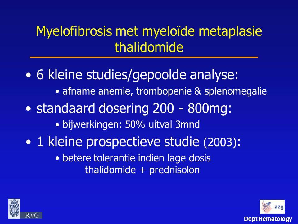 Dept Hematology Myelofibrosis met myeloïde metaplasie thalidomide 6 kleine studies/gepoolde analyse: afname anemie, trombopenie & splenomegalie standa