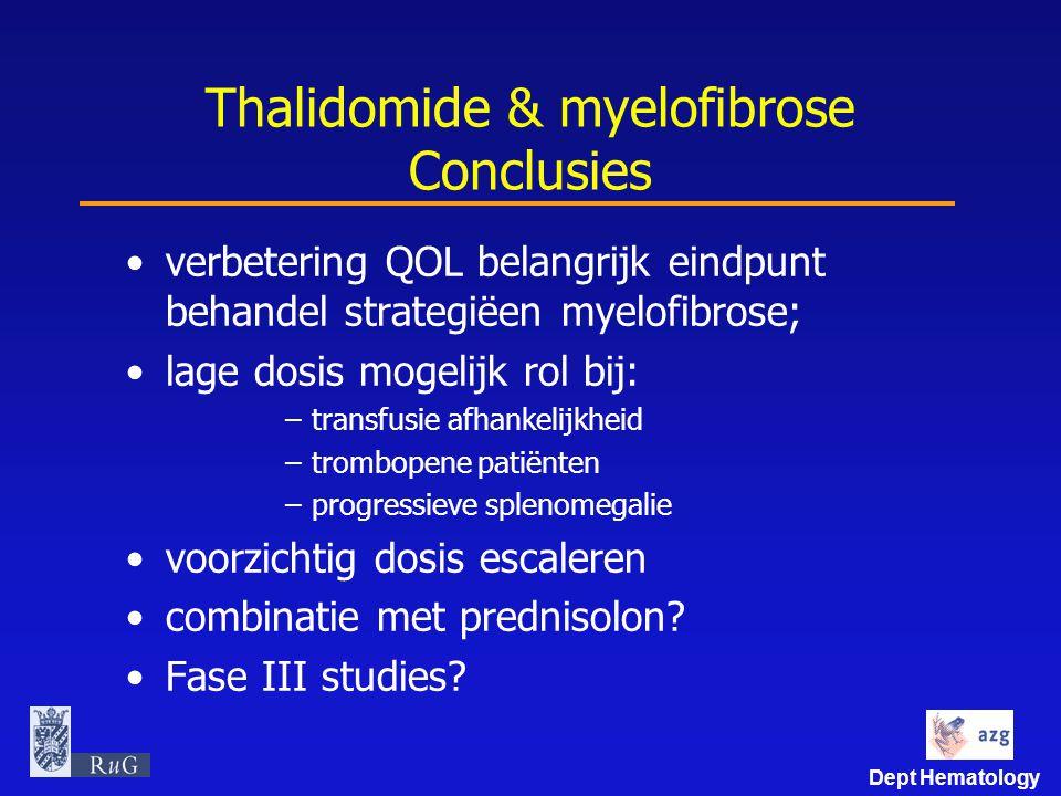 Dept Hematology Thalidomide & myelofibrose Conclusies verbetering QOL belangrijk eindpunt behandel strategiëen myelofibrose; lage dosis mogelijk rol b