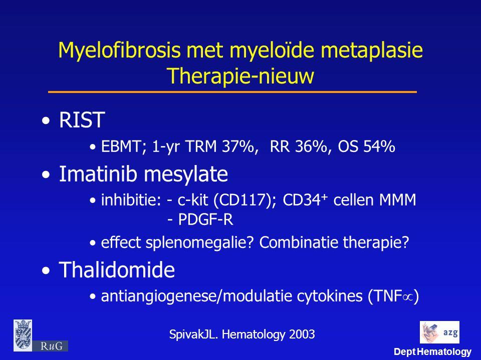 Dept Hematology Myelofibrosis met myeloïde metaplasie Therapie-nieuw RIST EBMT; 1-yr TRM 37%, RR 36%, OS 54% Imatinib mesylate inhibitie: - c-kit (CD1
