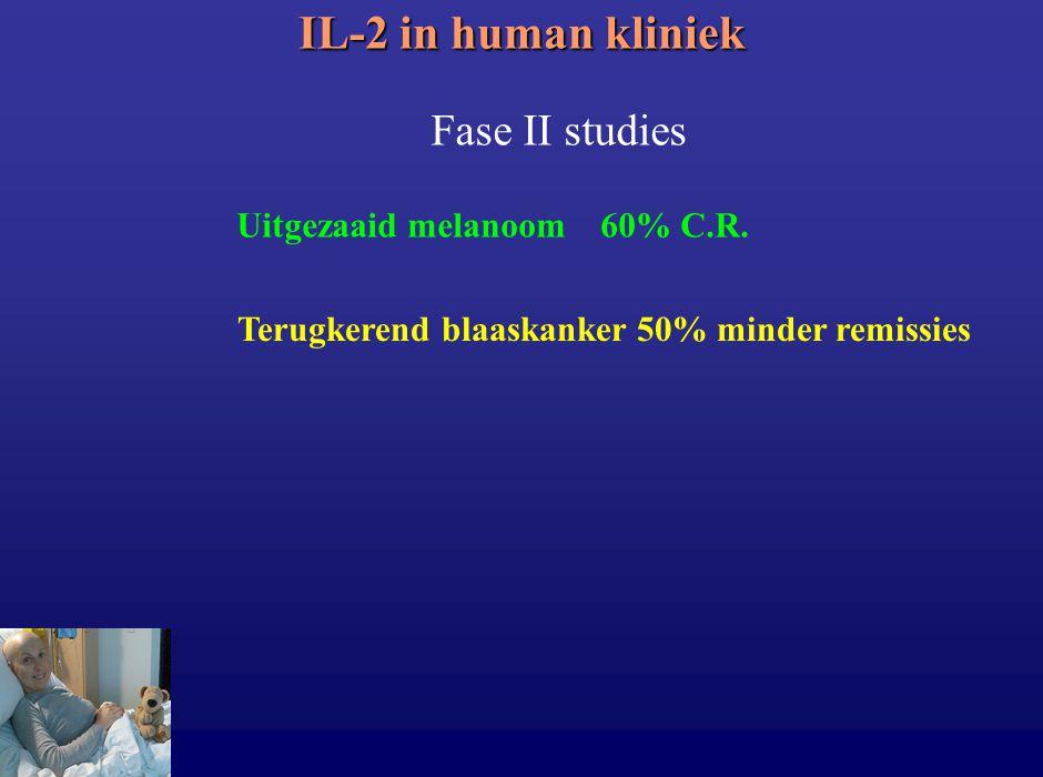 IL-2 in human kliniek Uitgezaaid melanoom 60% C.R. Fase II studies Terugkerend blaaskanker 50% minder remissies