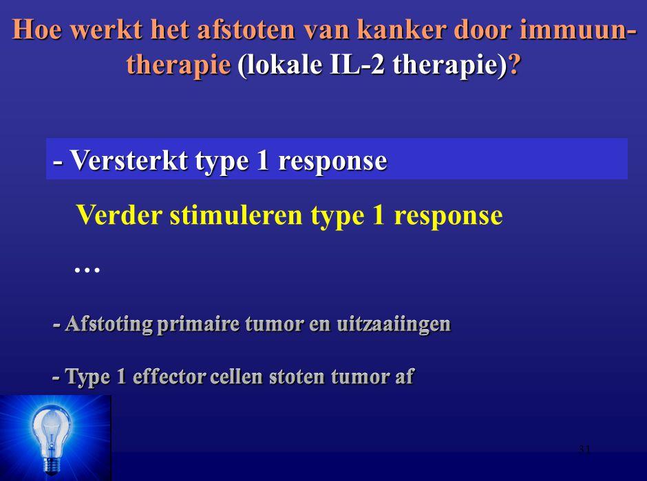 31 Hoe werkt het afstoten van kanker door immuun- therapie (lokale IL-2 therapie)? - Afstoting primaire tumor en uitzaaiingen - Type 1 effector cellen