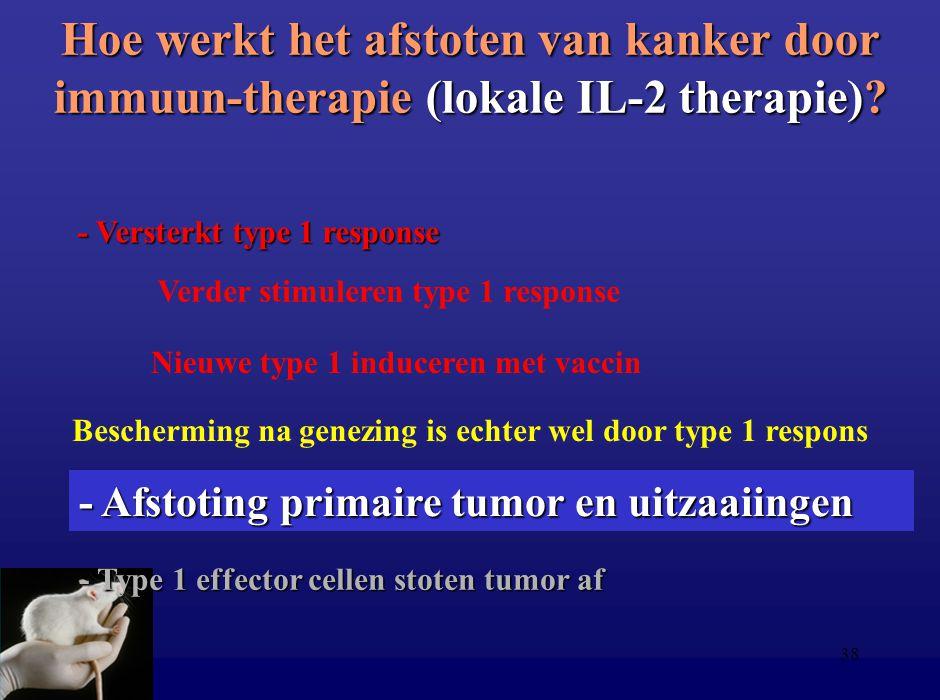 38 Hoe werkt het afstoten van kanker door immuun-therapie (lokale IL-2 therapie)? - Type 1 effector cellen stoten tumor af - Versterkt type 1 response