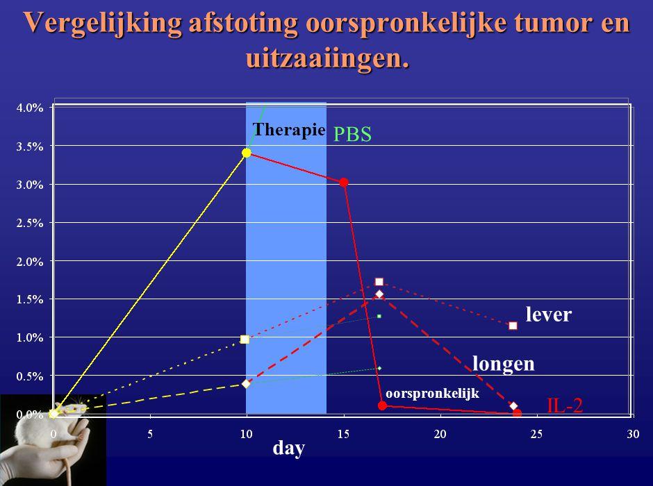 Vergelijking afstoting oorspronkelijke tumor en uitzaaiingen. day Therapie IL-2 PBS lever longen oorspronkelijk
