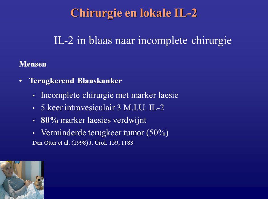 Chirurgie en lokale IL-2 IL-2 in blaas naar incomplete chirurgie Mensen Terugkerend Blaaskanker Incomplete chirurgie met marker laesie 5 keer intraves