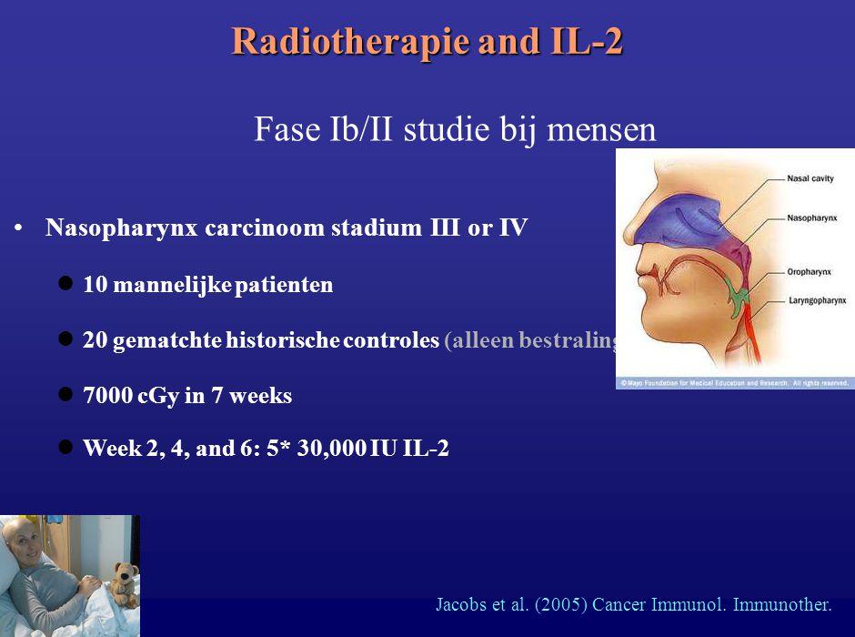 Nasopharynx carcinoom stadium III or IV 10 mannelijke patienten 20 gematchte historische controles (alleen bestraling) Radiotherapie and IL-2 Fase Ib/