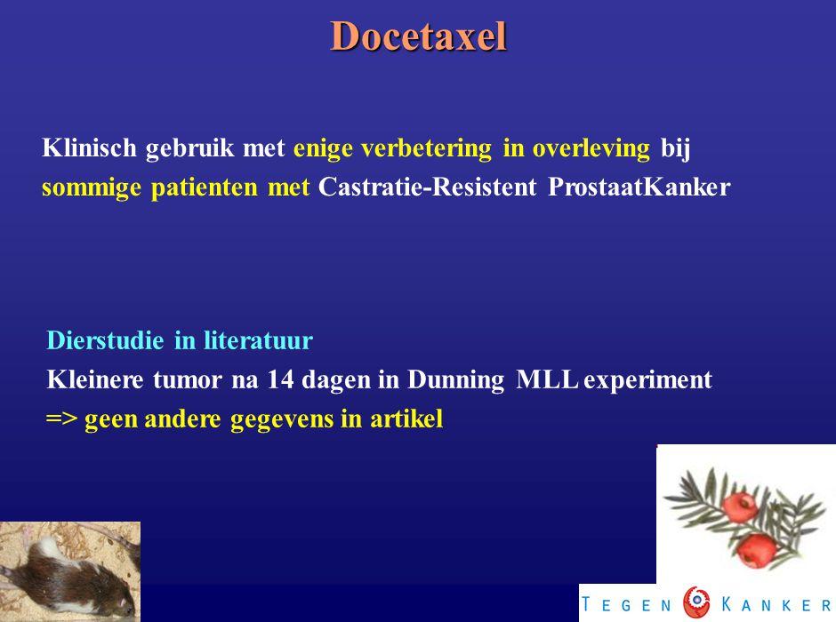 Klinisch gebruik met enige verbetering in overleving bij sommige patienten met Castratie-Resistent ProstaatKanker Dierstudie in literatuur Kleinere tu