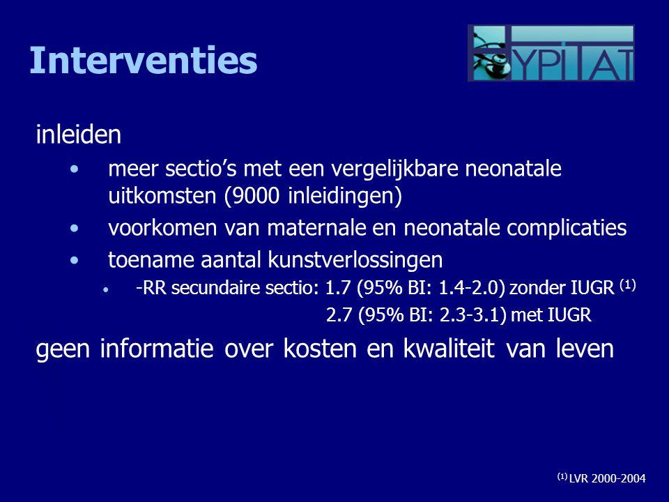 Interventies inleiden meer sectio's met een vergelijkbare neonatale uitkomsten (9000 inleidingen) voorkomen van maternale en neonatale complicaties to