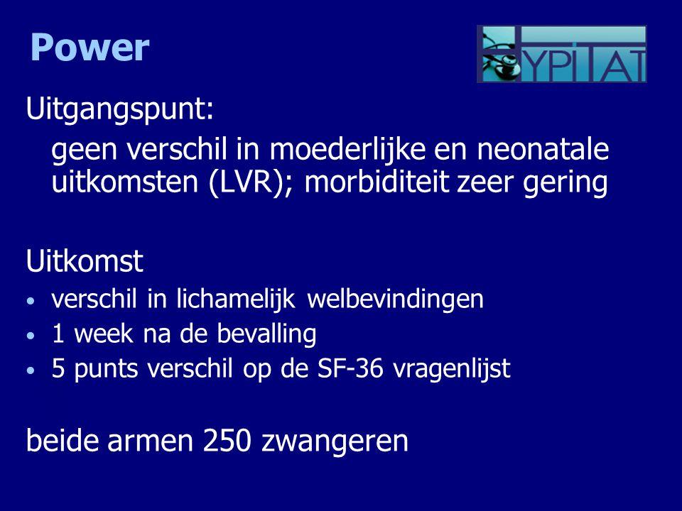 Power Uitgangspunt: geen verschil in moederlijke en neonatale uitkomsten (LVR); morbiditeit zeer gering Uitkomst verschil in lichamelijk welbevindinge