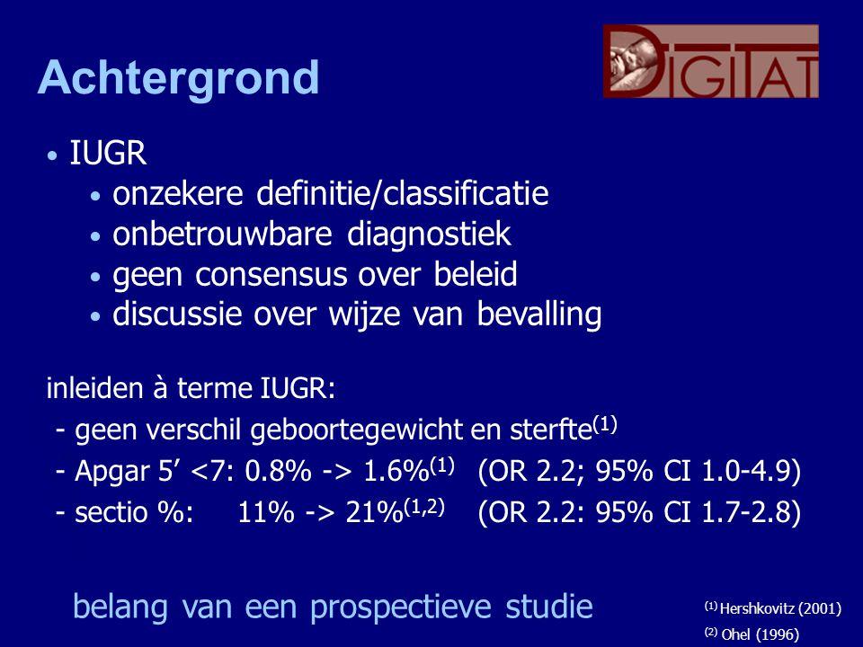 Achtergrond inleiden à terme IUGR: - geen verschil geboortegewicht en sterfte (1) - Apgar 5' 1.6% (1) (OR 2.2; 95% CI 1.0-4.9) - sectio %: 11% -> 21%