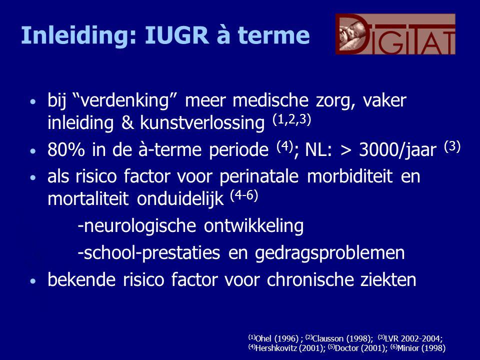 """Inleiding: IUGR à terme bij """"verdenking"""" meer medische zorg, vaker inleiding & kunstverlossing (1,2,3) 80% in de à-terme periode (4) ; NL: > 3000/jaar"""