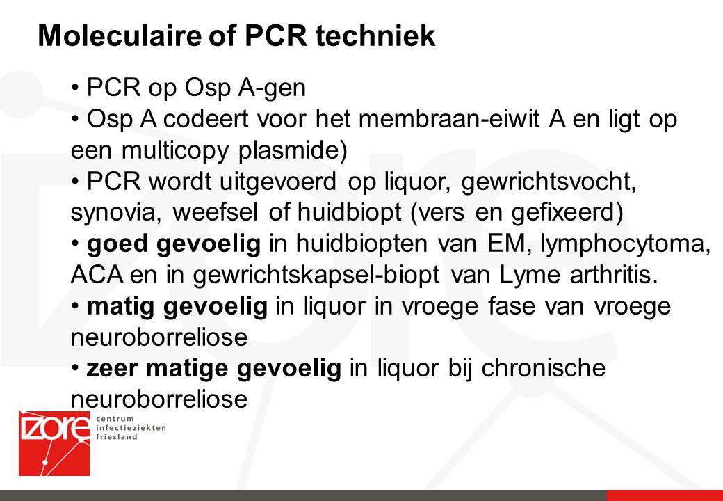 Moleculaire of PCR techniek PCR op Osp A-gen Osp A codeert voor het membraan-eiwit A en ligt op een multicopy plasmide) PCR wordt uitgevoerd op liquor