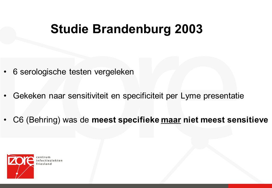 Studie Brandenburg 2003 6 serologische testen vergeleken Gekeken naar sensitiviteit en specificiteit per Lyme presentatie C6 (Behring) was de meest sp