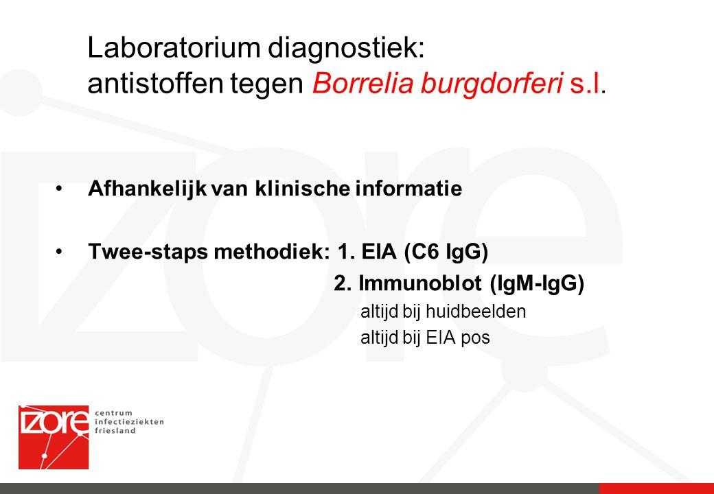 Laboratorium diagnostiek: antistoffen tegen Borrelia burgdorferi s.l. Afhankelijk van klinische informatie Twee-staps methodiek: 1. EIA (C6 IgG) 2. Im