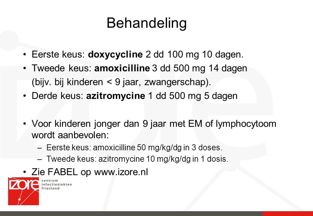Behandeling Eerste keus: doxycycline 2 dd 100 mg 10 dagen. Tweede keus: amoxicilline 3 dd 500 mg 14 dagen (bijv. bij kinderen < 9 jaar, zwangerschap).
