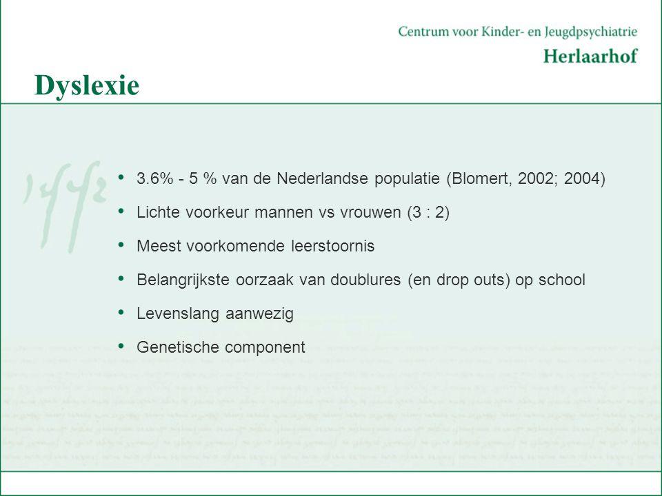 Dyslexie 3.6% - 5 % van de Nederlandse populatie (Blomert, 2002; 2004) Lichte voorkeur mannen vs vrouwen (3 : 2) Meest voorkomende leerstoornis Belang