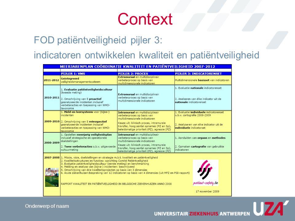 Beleidsnota Vlaams minister Jo Vandeurzen Patiëntveiligheid Accreditering Meten van zorgresultaten Context What's in the media?