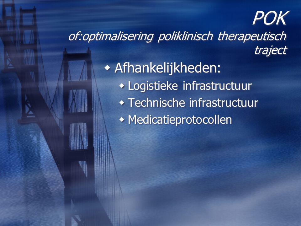 POK of:optimalisering poliklinisch therapeutisch traject  Afhankelijkheden:  Logistieke infrastructuur  Technische infrastructuur  Medicatieprotoc