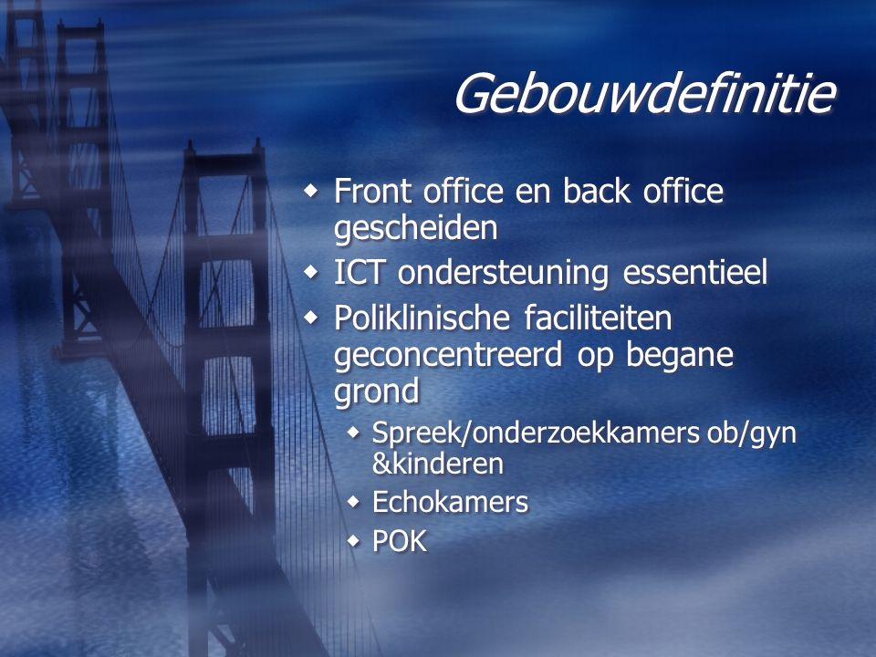 Gebouwdefinitie  Front office en back office gescheiden  ICT ondersteuning essentieel  Poliklinische faciliteiten geconcentreerd op begane grond 