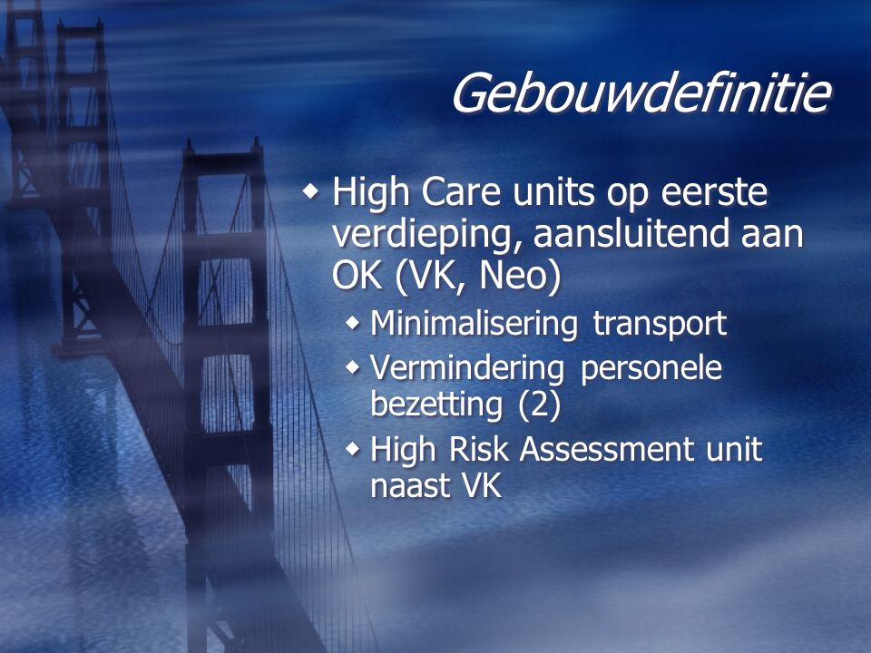 Gebouwdefinitie  High Care units op eerste verdieping, aansluitend aan OK (VK, Neo)  Minimalisering transport  Vermindering personele bezetting (2)