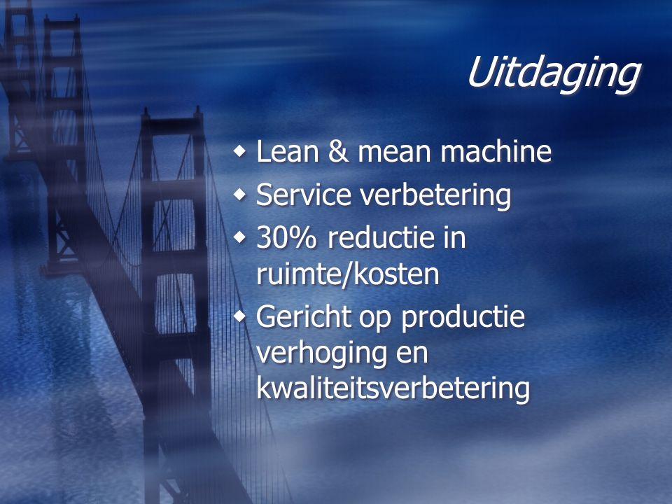 Uitdaging  Lean & mean machine  Service verbetering  30% reductie in ruimte/kosten  Gericht op productie verhoging en kwaliteitsverbetering  Lean