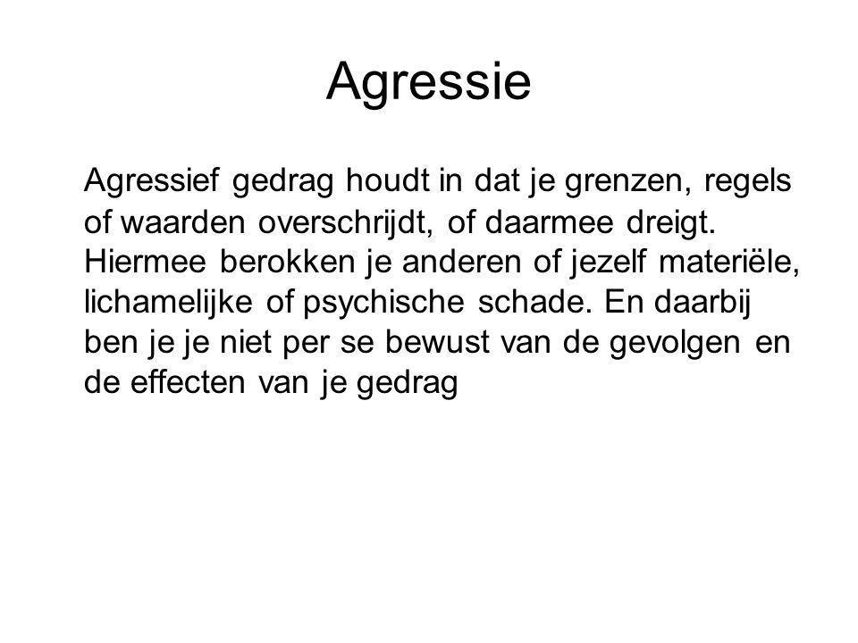 Agressie Agressief gedrag houdt in dat je grenzen, regels of waarden overschrijdt, of daarmee dreigt. Hiermee berokken je anderen of jezelf materiële,
