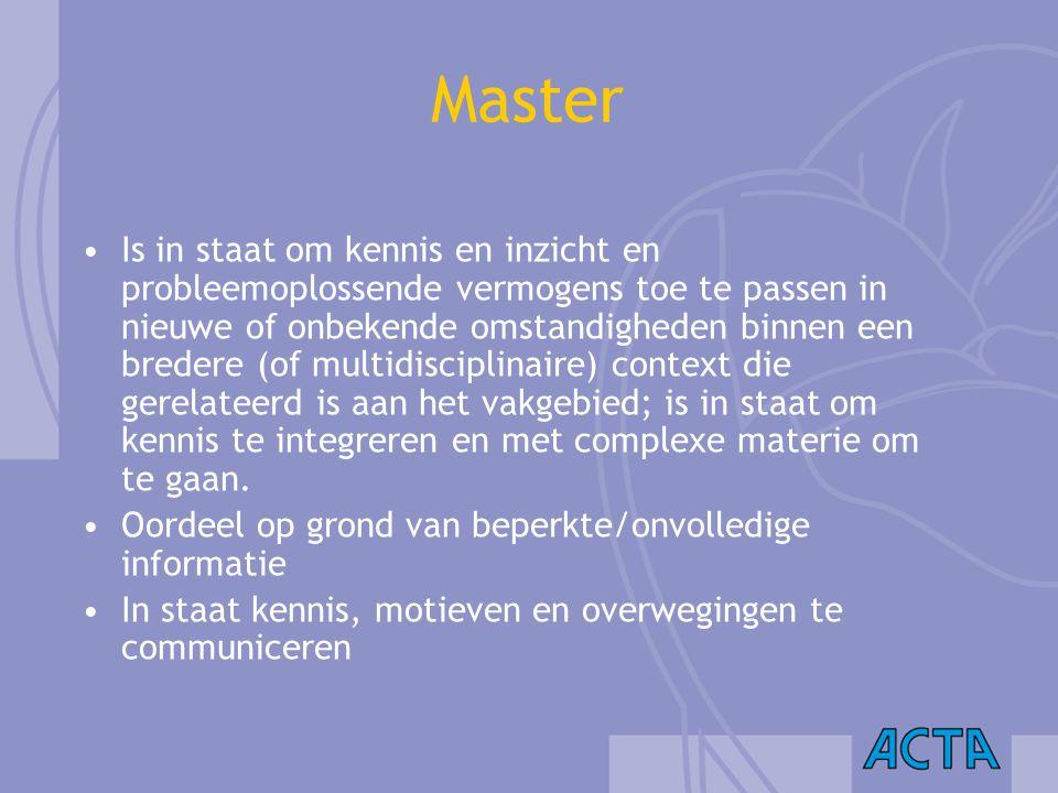 Master Is in staat om kennis en inzicht en probleemoplossende vermogens toe te passen in nieuwe of onbekende omstandigheden binnen een bredere (of mul