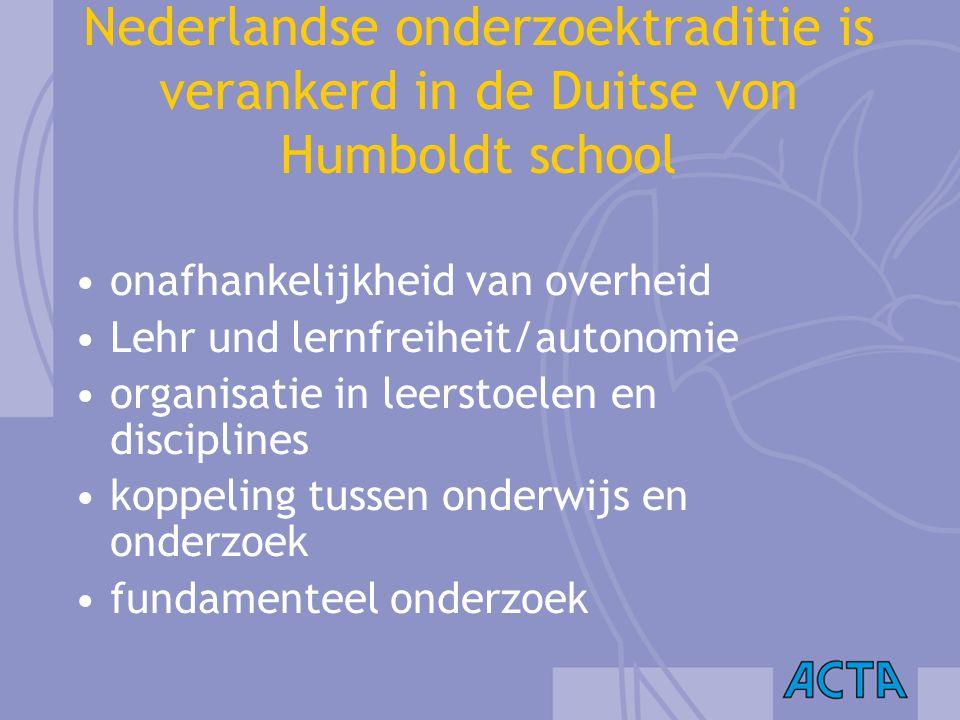 Nederlandse onderzoektraditie is verankerd in de Duitse von Humboldt school onafhankelijkheid van overheid Lehr und lernfreiheit/autonomie organisatie