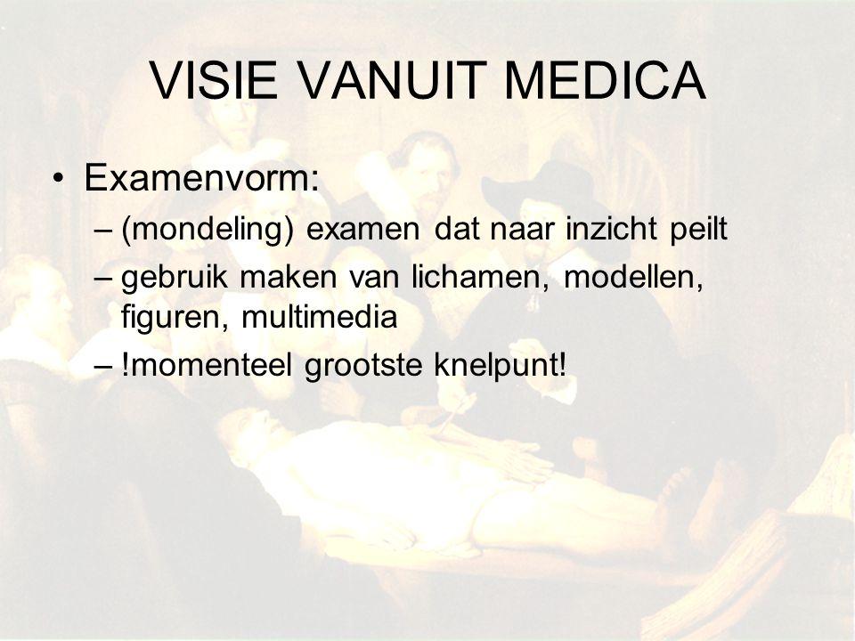 VISIE VANUIT MEDICA Examenvorm: –(mondeling) examen dat naar inzicht peilt –gebruik maken van lichamen, modellen, figuren, multimedia –!momenteel groo