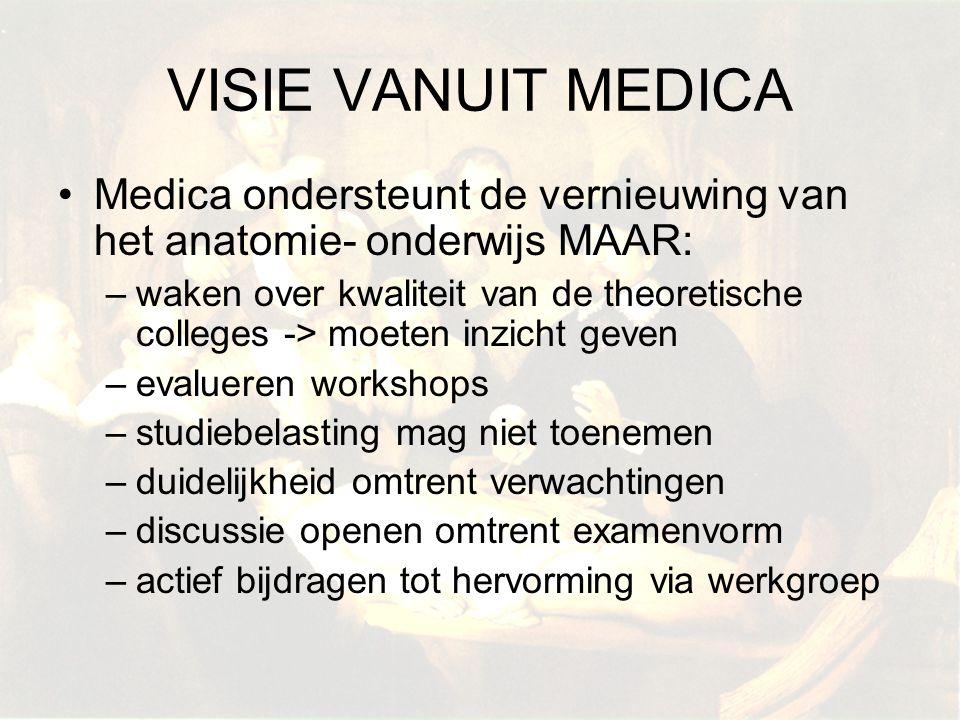 VISIE VANUIT MEDICA Medica ondersteunt de vernieuwing van het anatomie- onderwijs MAAR: –waken over kwaliteit van de theoretische colleges -> moeten i