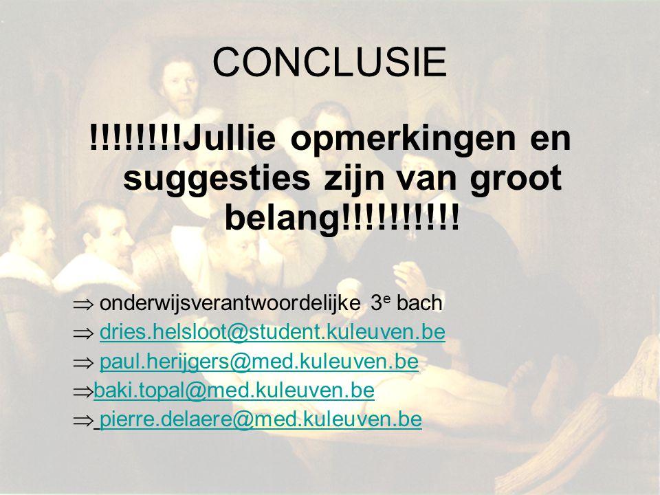 CONCLUSIE !!!!!!!!Jullie opmerkingen en suggesties zijn van groot belang!!!!!!!!!!  onderwijsverantwoordelijke 3 e bach  dries.helsloot@student.kule