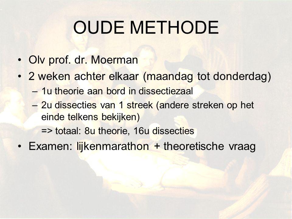 Olv prof. dr. Moerman 2 weken achter elkaar (maandag tot donderdag) –1u theorie aan bord in dissectiezaal –2u dissecties van 1 streek (andere streken