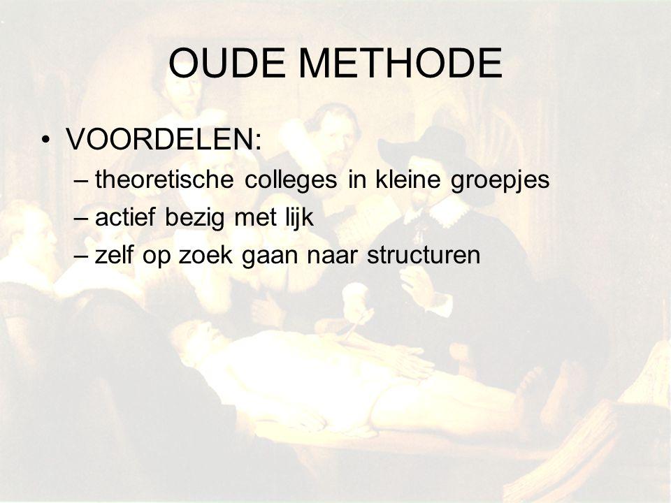 OUDE METHODE VOORDELEN: –theoretische colleges in kleine groepjes –actief bezig met lijk –zelf op zoek gaan naar structuren
