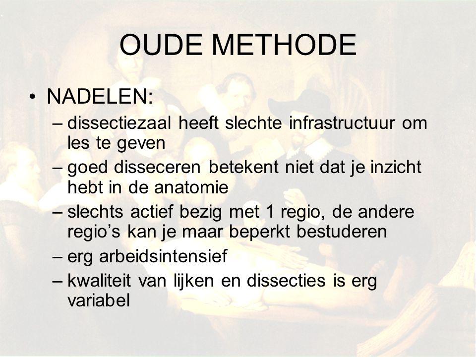 OUDE METHODE NADELEN: –dissectiezaal heeft slechte infrastructuur om les te geven –goed disseceren betekent niet dat je inzicht hebt in de anatomie –s