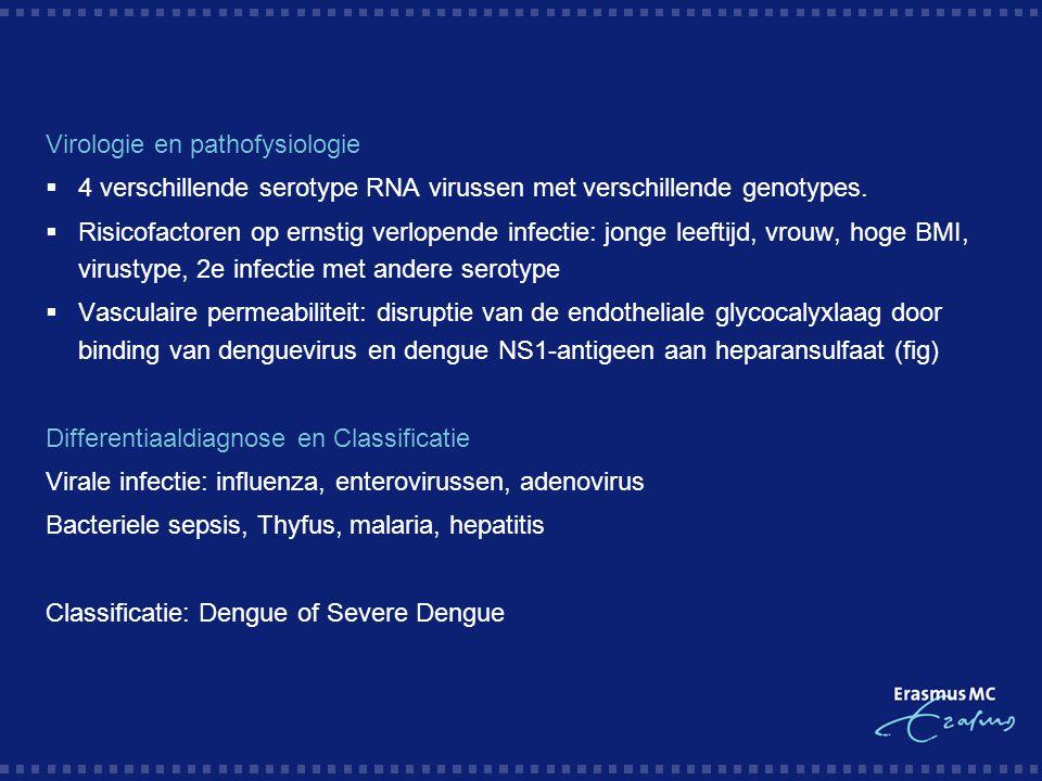 Virologie en pathofysiologie  4 verschillende serotype RNA virussen met verschillende genotypes.  Risicofactoren op ernstig verlopende infectie: jon