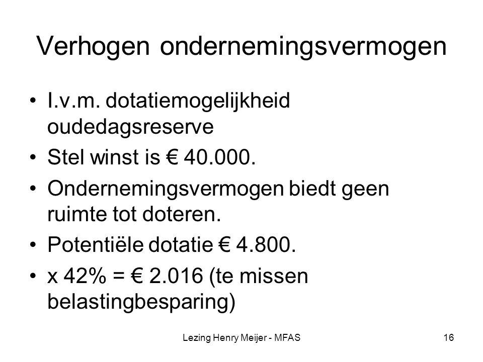 Lezing Henry Meijer - MFAS16 Verhogen ondernemingsvermogen I.v.m.