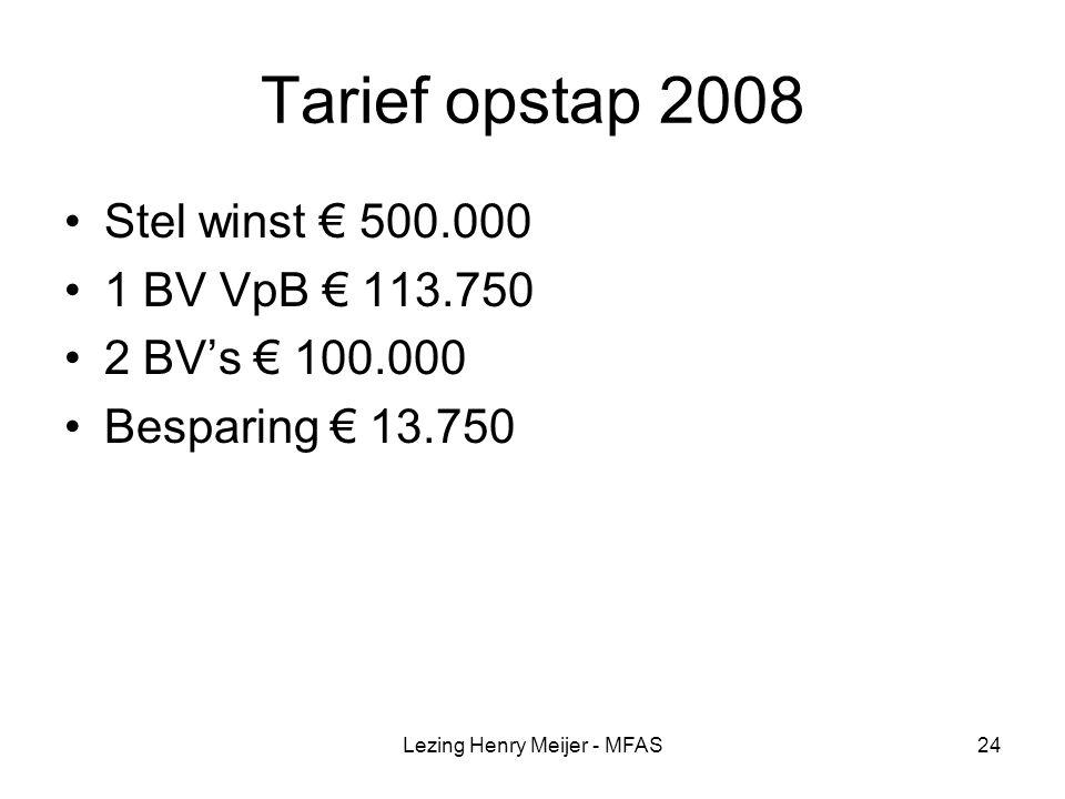Lezing Henry Meijer - MFAS24 Tarief opstap 2008 Stel winst € 500.000 1 BV VpB € 113.750 2 BV's € 100.000 Besparing € 13.750