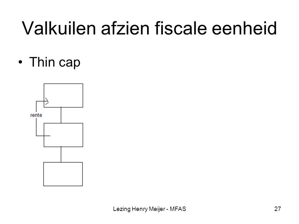 Lezing Henry Meijer - MFAS27 Valkuilen afzien fiscale eenheid Thin cap