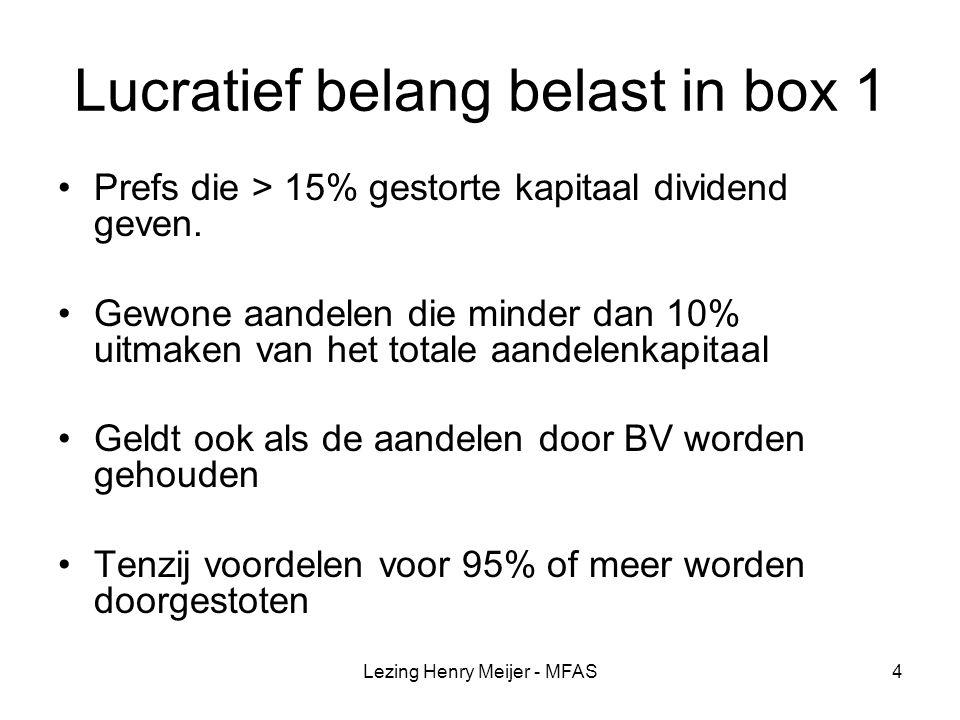 Lezing Henry Meijer - MFAS35 Voorbeeld Rente 5% R/c-stand 1/1/2008 € 150.000 R/c-stand 31/12/2008 € 180.000 Uitdividenden 30/12/2008 € 100.000 Nadeel box 3 1,2% = € 1.200 Rente wordt berekend op basis van gemiddelde 1/1 en 31/12.